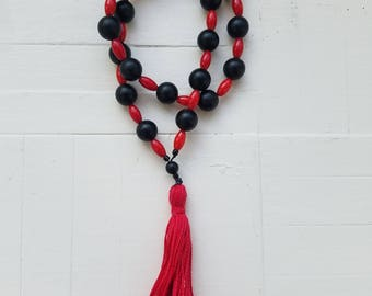 Paternoster Medieval Christian Prayer Beads Chaplet - Matte Black Onxy and Red Coral Beads