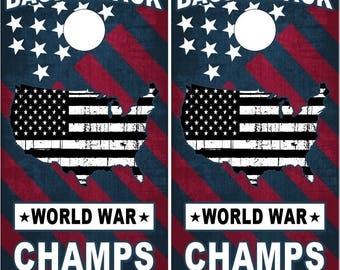 American Flag World War Champs Patriotic Cornhole Wrap Bag Toss Decal Baggo Skin Sticker Wraps
