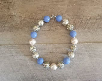 Champagne Blue Chunky Necklace, Gold Chunky Necklace, Champagne & Blue Chunky Necklace, Bubblegum Bead Necklace, Baby Bubblegum Necklace