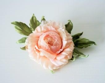 Silk Flower, rose flower clip, silk flower hair piece, Birthday gift for her, floral head piece, bridal hair clip, flower accessories