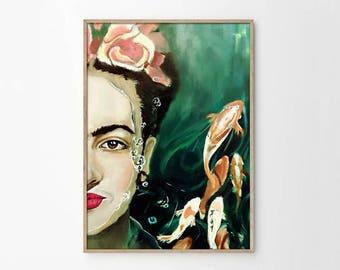 Frida Kahlo and Fishes Abstract Painting Wall Art - Frida Kahlo Poster - Digital Art - Pop Art - Home Decor