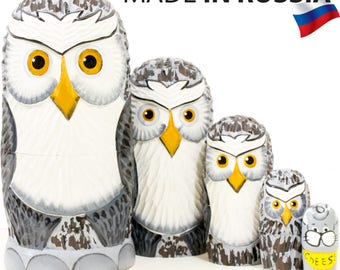 """Nesting Doll - """"Owl Family"""" - 5 dolls in 1 - MEDIUM SIZE - Hand-painted in Russia"""