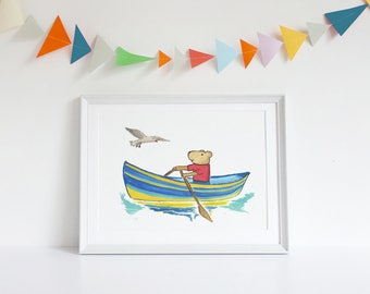 Kids Beach Art, Nautical Kids Room, Kids Bear Art, Kids Bear Print, Ocean wall art, Nautical Kids Art, Kids Boat Art, Kids Art