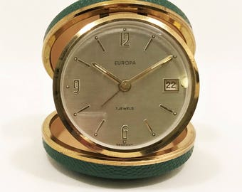 Vintage Europa 7 Jewels Folding Travel Alarm Clock with Date, Mid Century c1950's Made in Germany