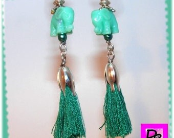 Earrings # unique jewelry designer # gift # green tassel and dangling # elephant