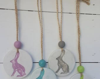Handmade Clay Tag, stamped with Hare/Rabbit - Country, Decor, Accessories