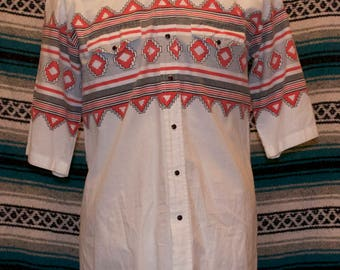 Vintage Roper Western Shirt Aztec White Onyx Snap Front XL X-Large 100% Cotton