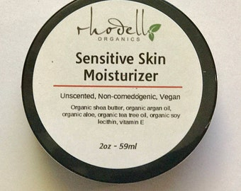 Organic Sensitive Skin Moisturizer, Face cream, Non-Comedogenic, Dry skin, acne, dehydrated skin, vegan, fragrance free, unscented, face