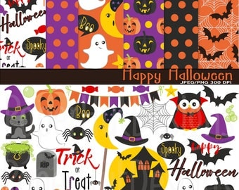 Halloween Clipart-Halloween Clip Art & Halloween Digital Papers- Cat-Owl-Bat-Pumpkin-Spiders Web-Haunted House-Ghost-Treats-BUY2GET1MOREFREE
