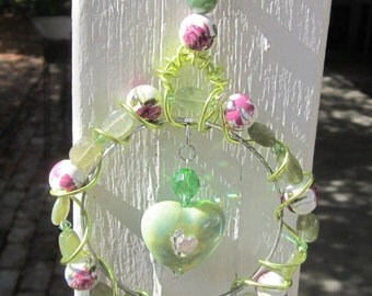 Green Heart Sun Catcher #674