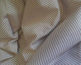 Vintage work shirt material - red and white railroad stripes, 8 yd
