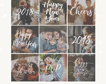 New Year Overlay Set of 9, New Year Photography Overlays, New Year text overlays, Happy New Year photography overlays, 2018, cheers