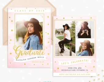 Graduation Invitation Template, Pink & Gold, College, Senior Photography Marketing Template, Graduation Announcement, Graduation Templates