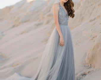 Tulle wedding skirt, bridal blue skirt