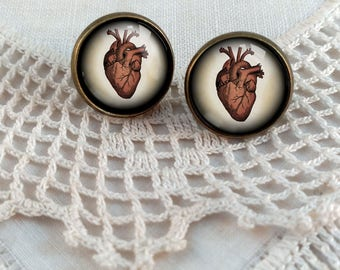 Human Heart Stud Earrings