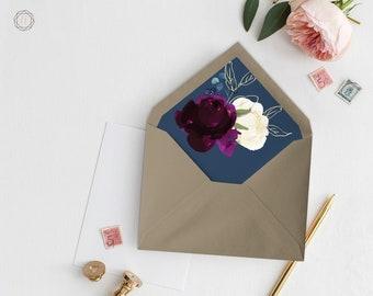 Envelope Liners, Printable Liner, Navy Blue Envelope Liner, Floral Envelope Liner, Envelope Liner, A7 Envelope Liner, Instant Download, #PNG