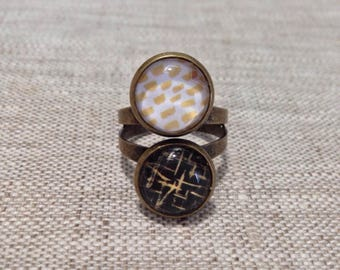 Ring cabochon double - timeless - 12 mm black, gold