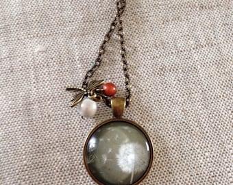 Glass cabochon necklace * dandelion - dandelion