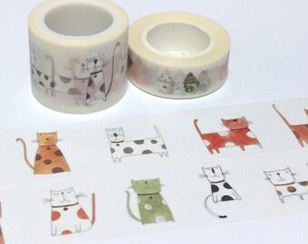 Cute Cat washi tape 5M x 3cm Cute cat EXTRA WIDE washi tape funny cat pussy cat cartoon cat sticker tape cat planner cat diary cat pattern