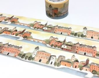 europe village landscape washi tape 5Mx 3cm fairy tale village european vintage building swedish house scenes sticker wide tape decor gift