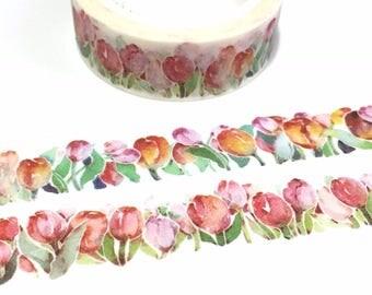 Tulip flower washi tape 7M colorful flower Tulip garden sticker tape Tulip Flower Bulbs wedding flower gardening planner flower trim deco