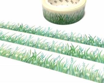 green grass washi tape 7M green garden countryside flower masking sticker tape green scenery green gardening themed decor sticker tape