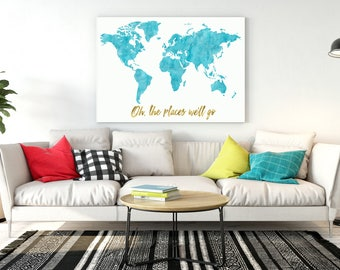 United states map Large Watercolor map USA map print United