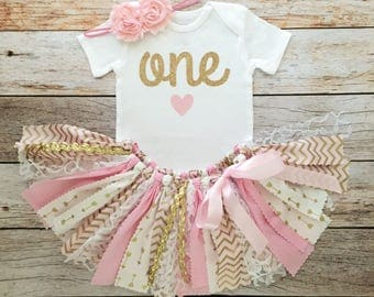Pink and Gold First Birthday Outfit with Headband/Pink and Gold Fabric Tutu/Baby Girl Bodysuit/Shirt with Age