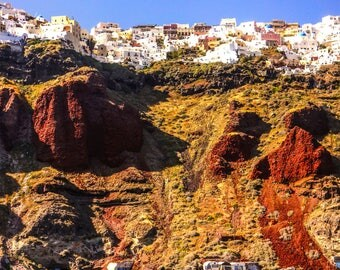 Santorini Photography - Fine Art Photography - Santorini Print - Santorini Photography - Wall Art - Blue Home Decor - Cliffside - 0139