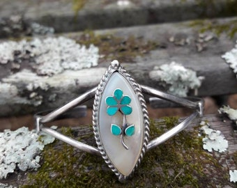 Vintage Zuni Sterling Silver Mother of Pearl Turquoise Flower Cuff Bracelet