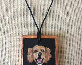 Golden Retriever necklace, Painted golden retriever, Golden retriever gift, Golden retriever art, Painted dog jewelry, Pet memorial painting