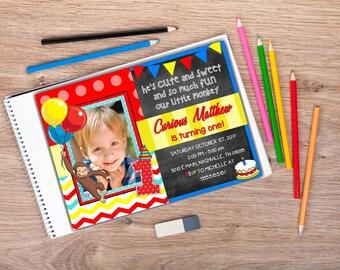 Curious George First Birthday Invitation | Curious George 1st Birthday | Curious George Birthday | Picture Birthday Invitation | Printable