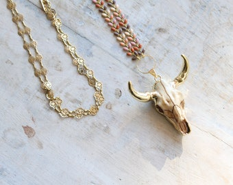 Long necklace, Buffalo, ears and string fancy head pendant