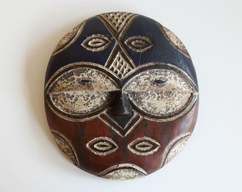 African Vintage Handcrafted Teke Mask - Democratic Republic of Congo - Mid 20 Century