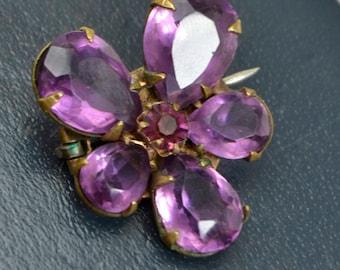 Antique Victorian Amethyst Paste PANSY Flower Brooch - Symbolic Love Token
