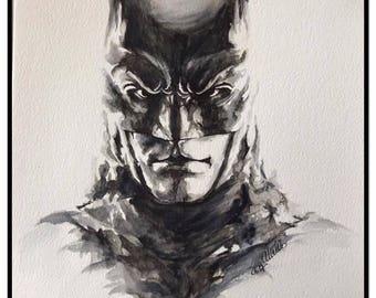 Batman watercolor portrait