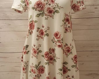 White Floral Knit Dress with Criss Cross Neckline and Pockets