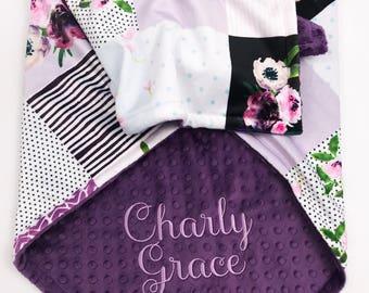 Minky Baby Blanket - Baby Blanket with Name - Personalized Baby Blanket - Monogram Baby Blanket  - Receiving Blanket - Floral Baby Blanket