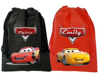 """Cars Party, 10 Personalized Favor Bags Cars Themed Party, Drawstring Bags 6.5"""" x 9"""" inches"""