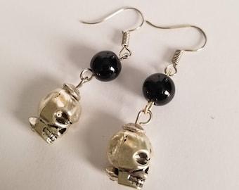 Skull Earrings, Silver Skull Earrings