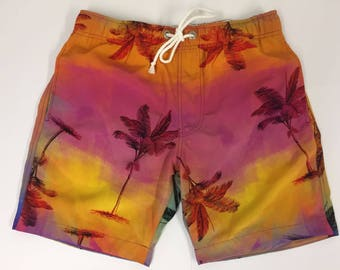 OddBoysClub Multi-coloured Palm Tree Men's Board Shorts Swim Shorts Trunks with Airtex Mesh Lining