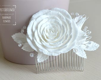 White rose Wedding hair comb Rose Hair Comb Bridal comb Hair jewelry Decorative comb Classic Winter Wedding accessories White hair piece