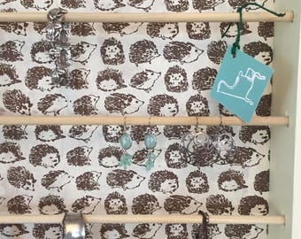 Attention Hedgehog Lovers!  Vintage wooden tray converted into Jewelry and/or Ribbon display ready to hang on wall.