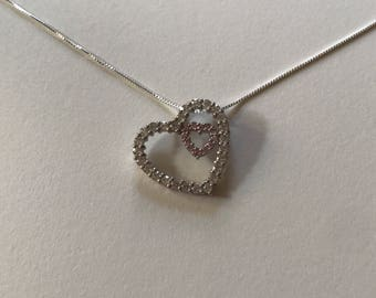 Vintage Pink and White Cubic Zirconia Open Heart 925 Sterling Silver Pendant Necklace