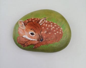 handmade Pebble painted Fawn suede