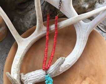 Turquoise Bead Stack Pendant and Red Coral Necklace