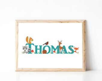 Woodland Print, Woodland Nursery Print, Personalised Print, Nursery Decor, Wall Art, Forest Animal Print, Name Print, Baby Gift.