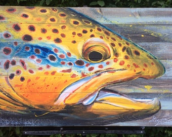 Brown Trout Painting on Wood Panel