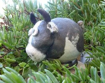 Cow piggy bank ceramic raku