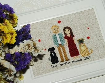 4th Anniversary Cross Stitch Gift Ideas for him for her for husband for wife gift for 4th anniversary gifts for her 4th presents